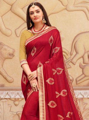 Art Silk Zari Classic Designer Saree in Red