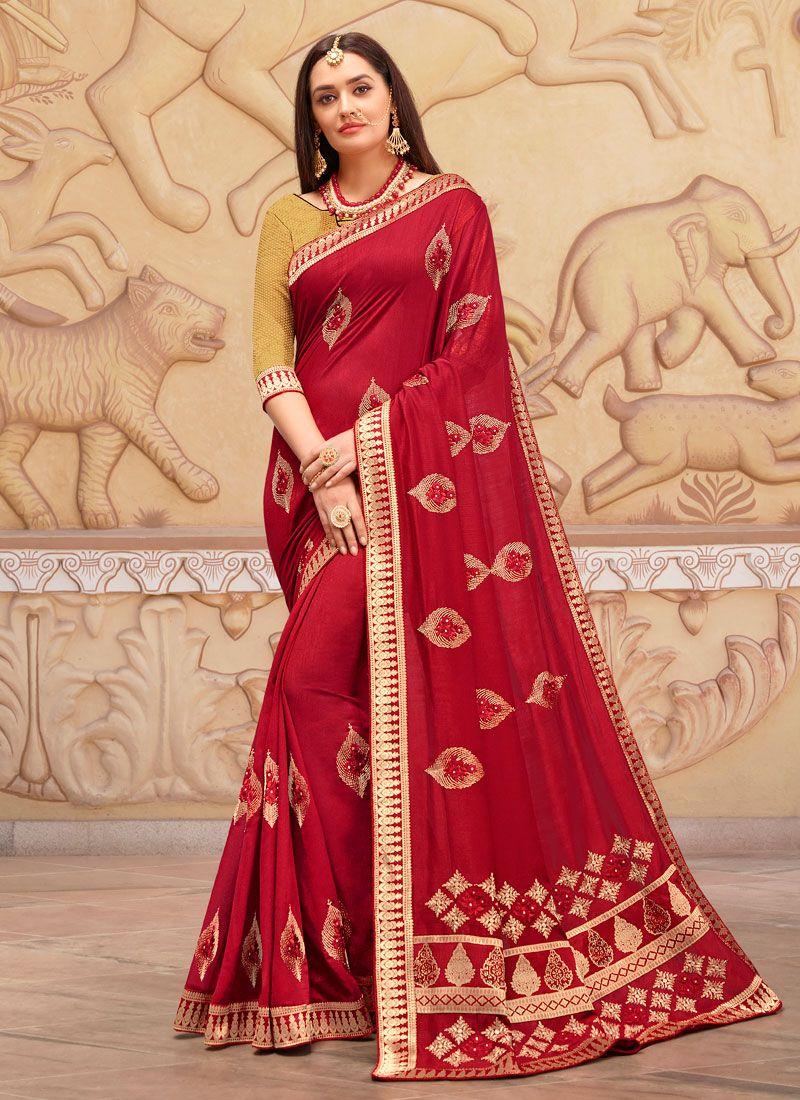 Art Silk Zari Classic Designer Saree in Red