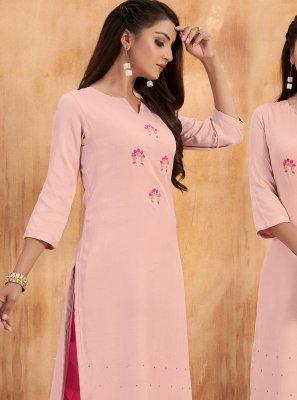 Avantika Slub Pink Embroidered Salwar Suit