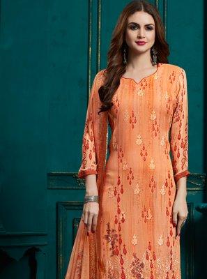 Bamber Georgette  Digital Print Orange Designer Straight Salwar Kameez