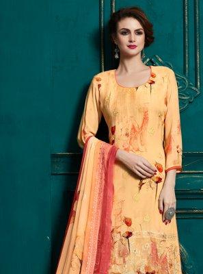 Bamber Georgette  Yellow Digital Print Salwar Suit