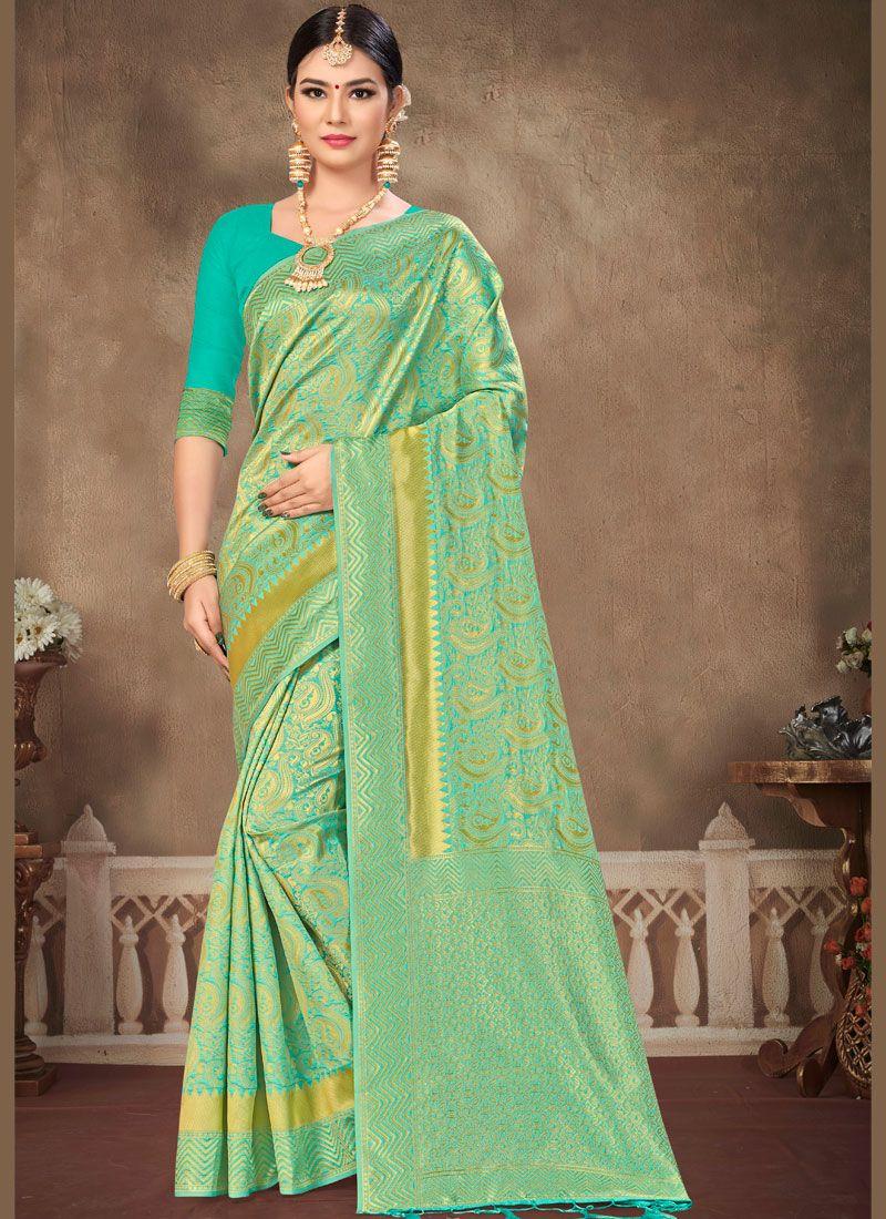 Banarasi Silk Aqua Blue Silk Saree