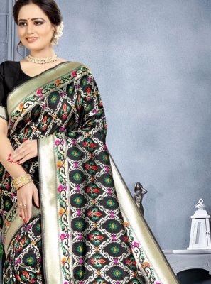 Banarasi Silk Black Weaving Classic Saree
