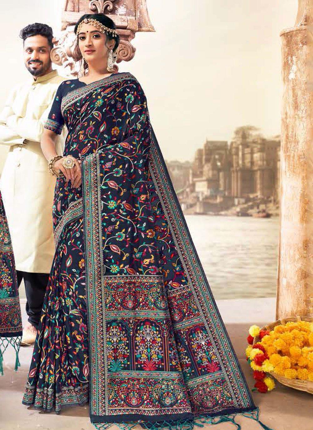 Banarasi Silk Blue Digital Print Saree