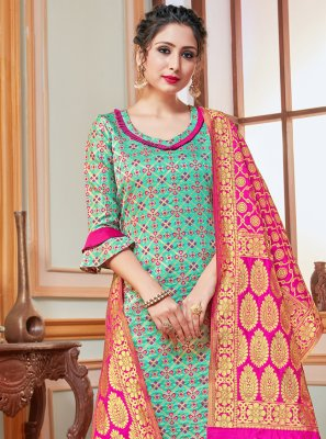 Banarasi Silk Blue Salwar Suit