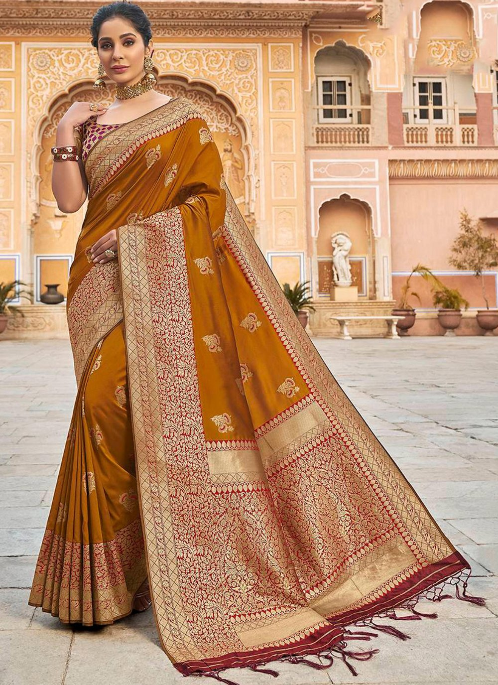 Banarasi Silk Brown Classic Designer Saree