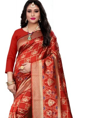 Banarasi Silk Casual Saree in Red