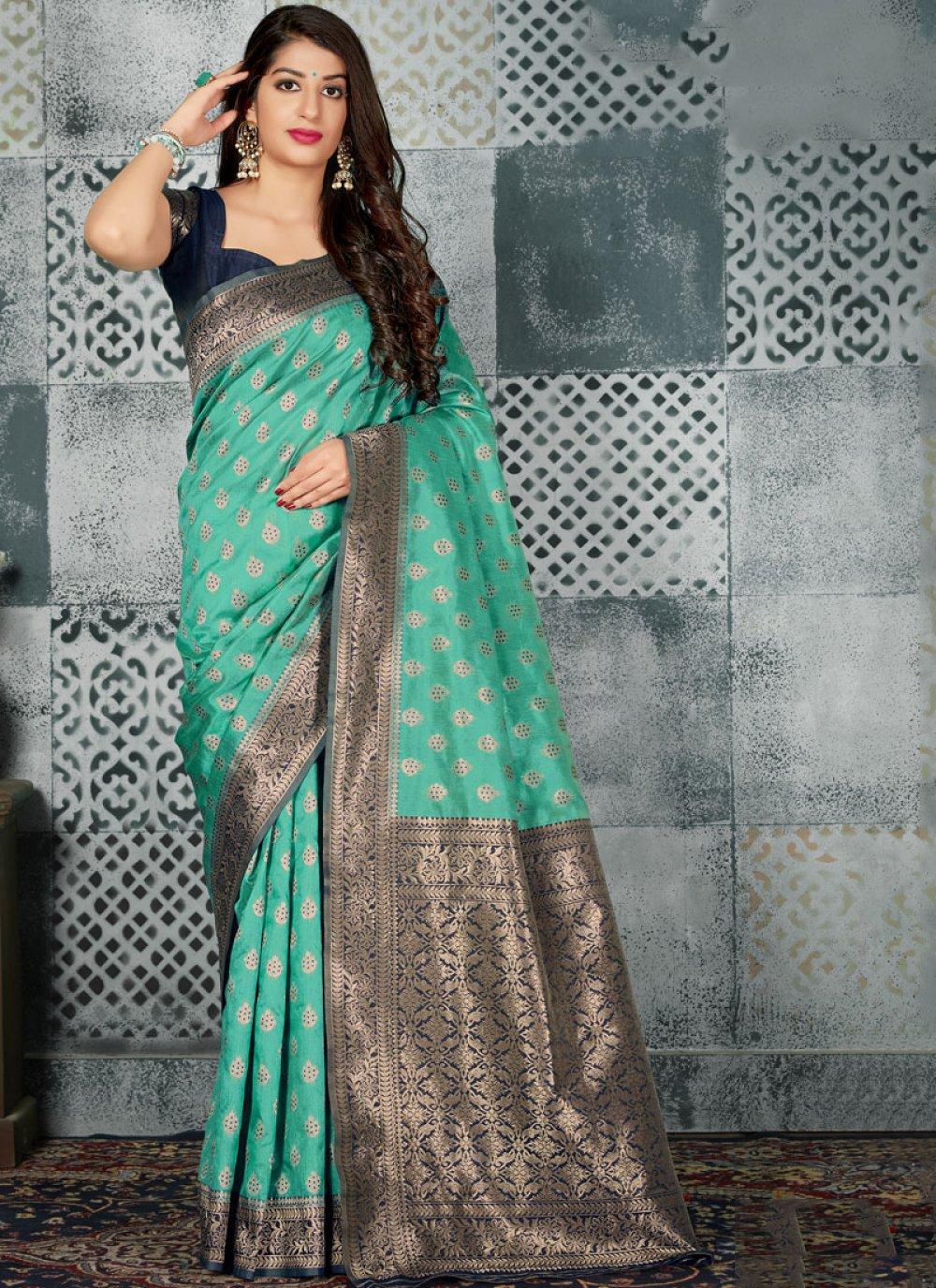 Banarasi Silk Classic Designer Saree in Aqua Blue