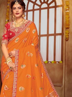 Banarasi Silk Classic Saree in Orange