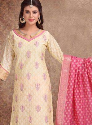 Banarasi Silk Cream Churidar Suit