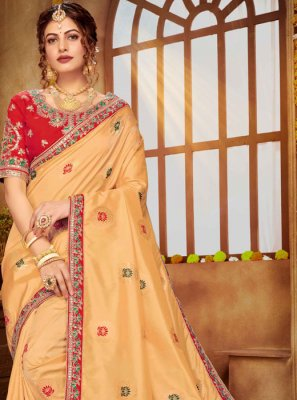 Banarasi Silk Cream Designer Saree