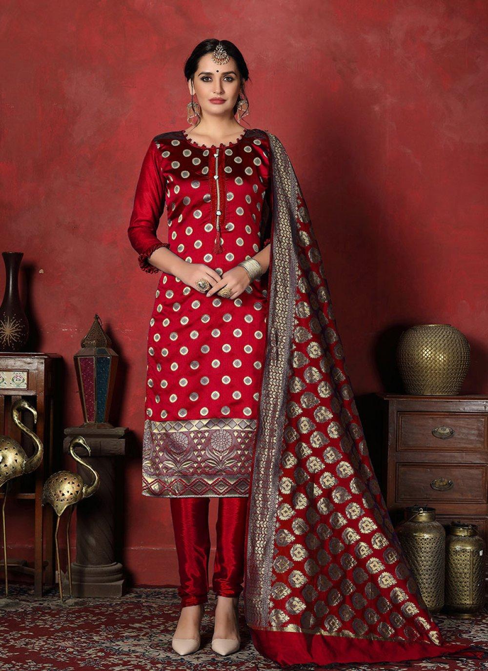 Banarasi Silk Designer Suit in Red
