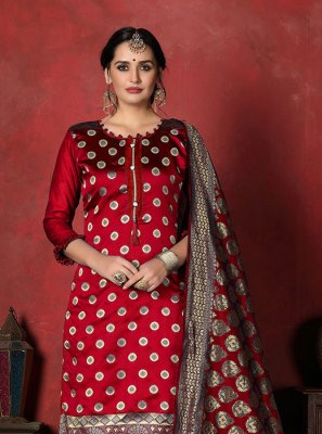 Banarasi Silk Designer Suit in Red