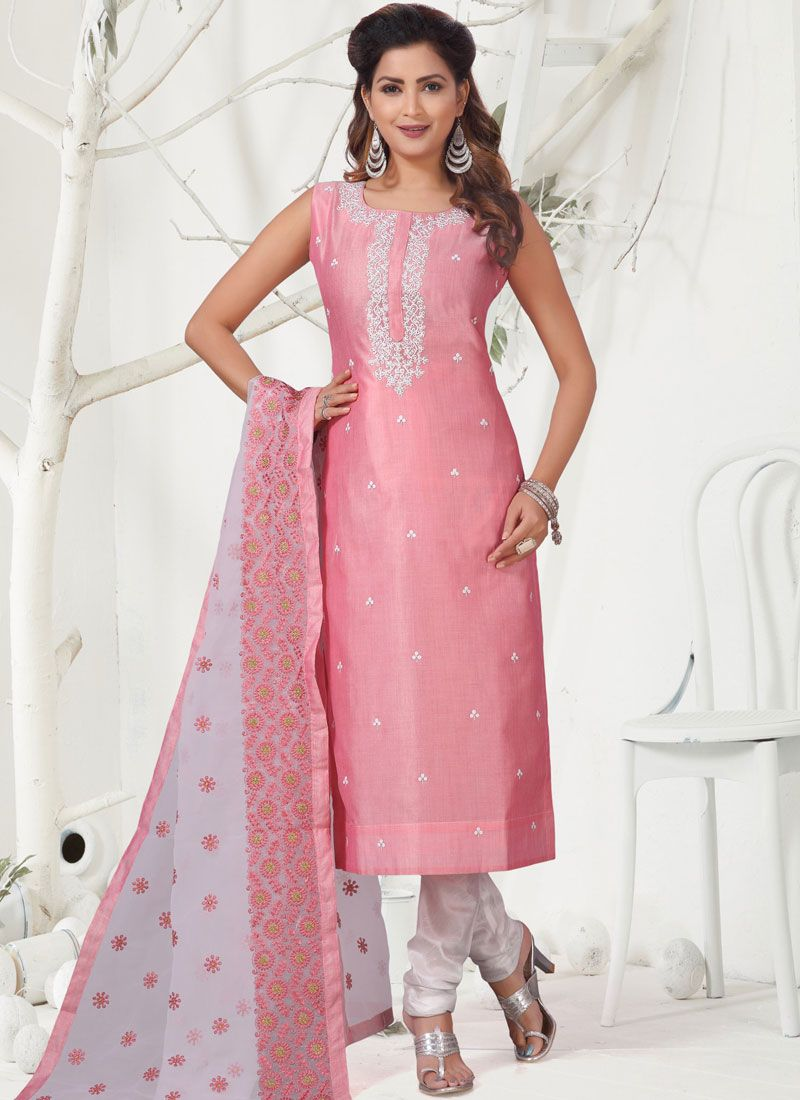 Banarasi Silk Embroidered Churidar Salwar Kameez