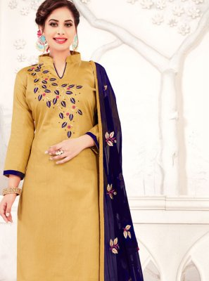 Banarasi Silk Embroidered Cream Churidar Designer Suit