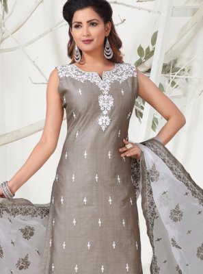 Banarasi Silk Embroidered Grey Designer Suit