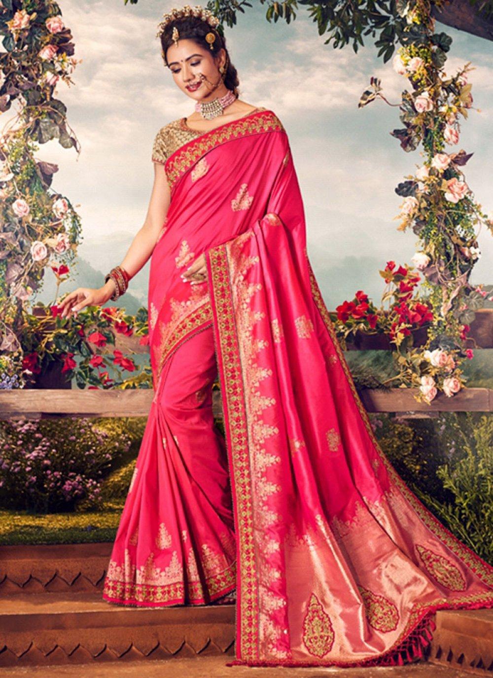 Banarasi Silk Embroidered Hot Pink Classic Designer Saree
