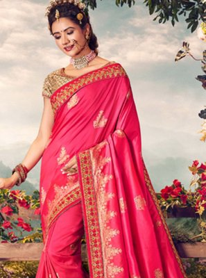 Banarasi Silk Embroidered Hot Pink Classic Designer Saree