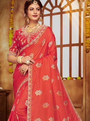 Banarasi Silk Embroidered Red Classic Designer Saree