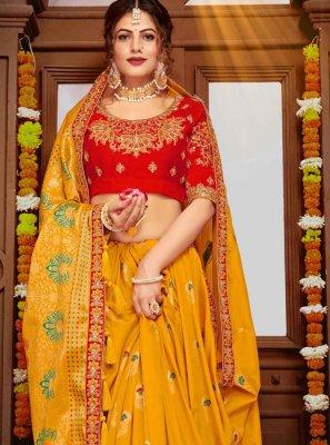 Banarasi Silk Embroidered Yellow Classic Designer Saree