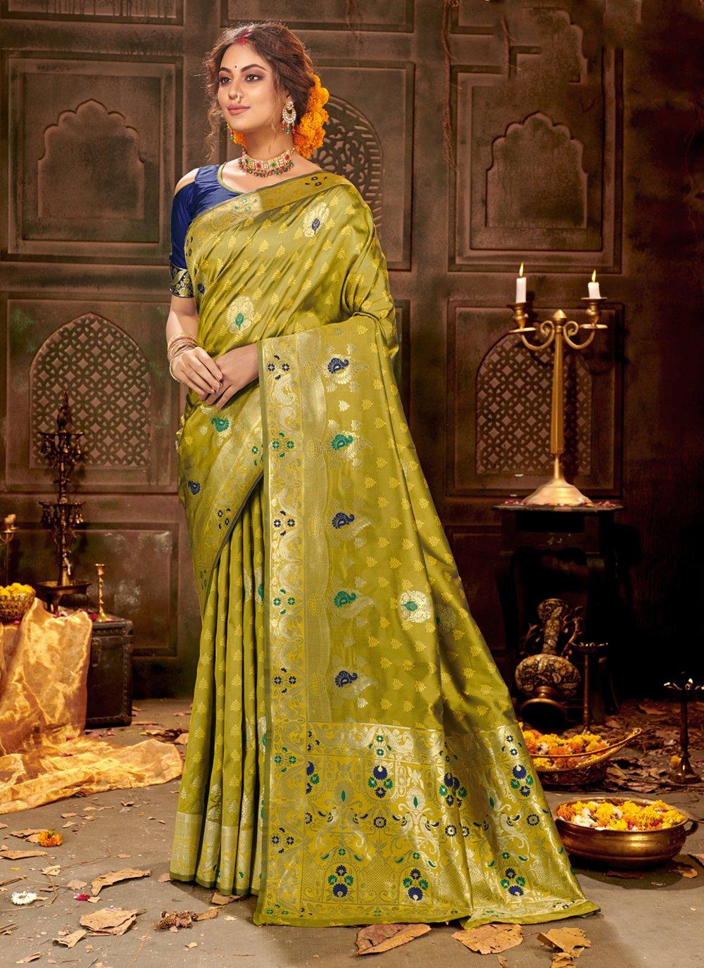 Banarasi Silk Green Traditional Saree