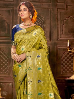 Banarasi Silk Green Traditional Saree