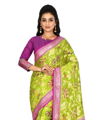 Banarasi Silk Green Weaving Classic Saree