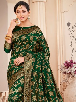 Banarasi Silk Green Weaving Contemporary Saree