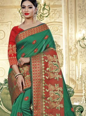Banarasi Silk Green Weaving Trendy Saree