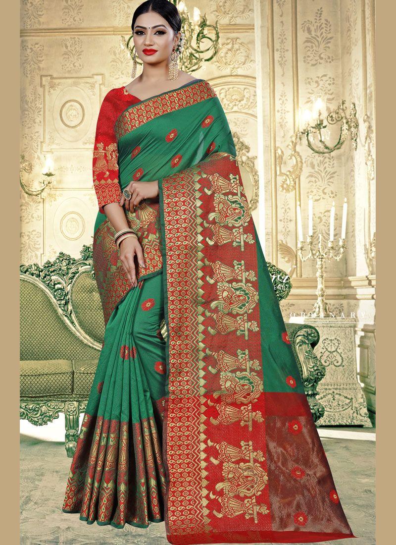 Banarasi Silk Green Weaving Trendy Saree