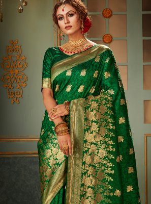 Banarasi Silk Green Woven Traditional Saree
