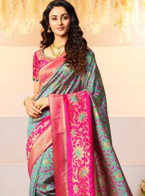 Banarasi Silk Grey and Pink Weaving Half N Half  Saree
