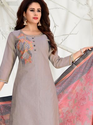 Banarasi Silk Grey Churidar Salwar Suit