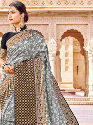 Banarasi Silk Grey Weaving Designer Saree