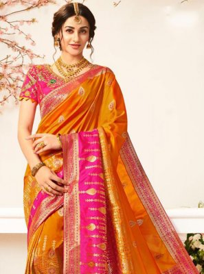 Banarasi Silk Hot Pink and Mustard Weaving Silk Saree