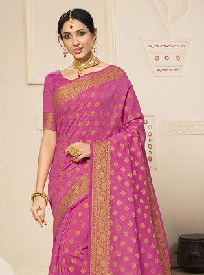 Banarasi Silk Hot Pink Trendy Saree