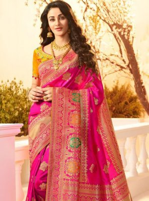 Banarasi Silk Hot Pink Weaving Classic Designer Saree