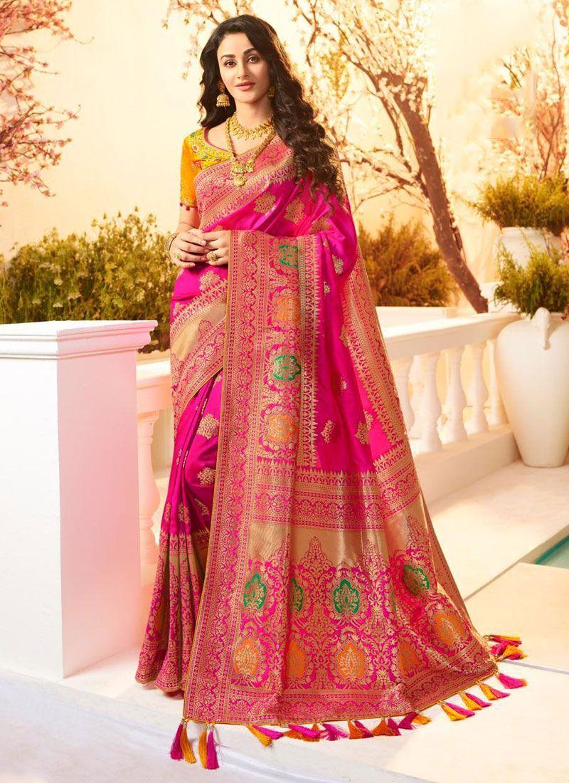 Banarasi Silk Hot Pink Weaving Classic Designer Saree