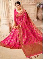 Banarasi Silk Hot Pink Weaving Classic Saree
