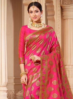 Banarasi Silk Hot Pink Weaving Classic Saree