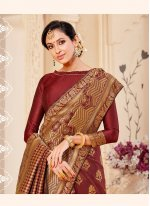 Banarasi Silk Maroon Weaving Traditional Saree