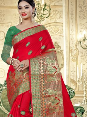 Banarasi Silk Mehndi Trendy Saree