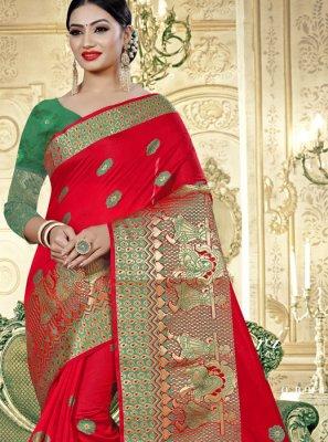 Banarasi Silk Mehndi Trendy Saree