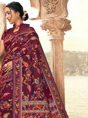 Banarasi Silk Multi Colour Digital Print Classic Saree