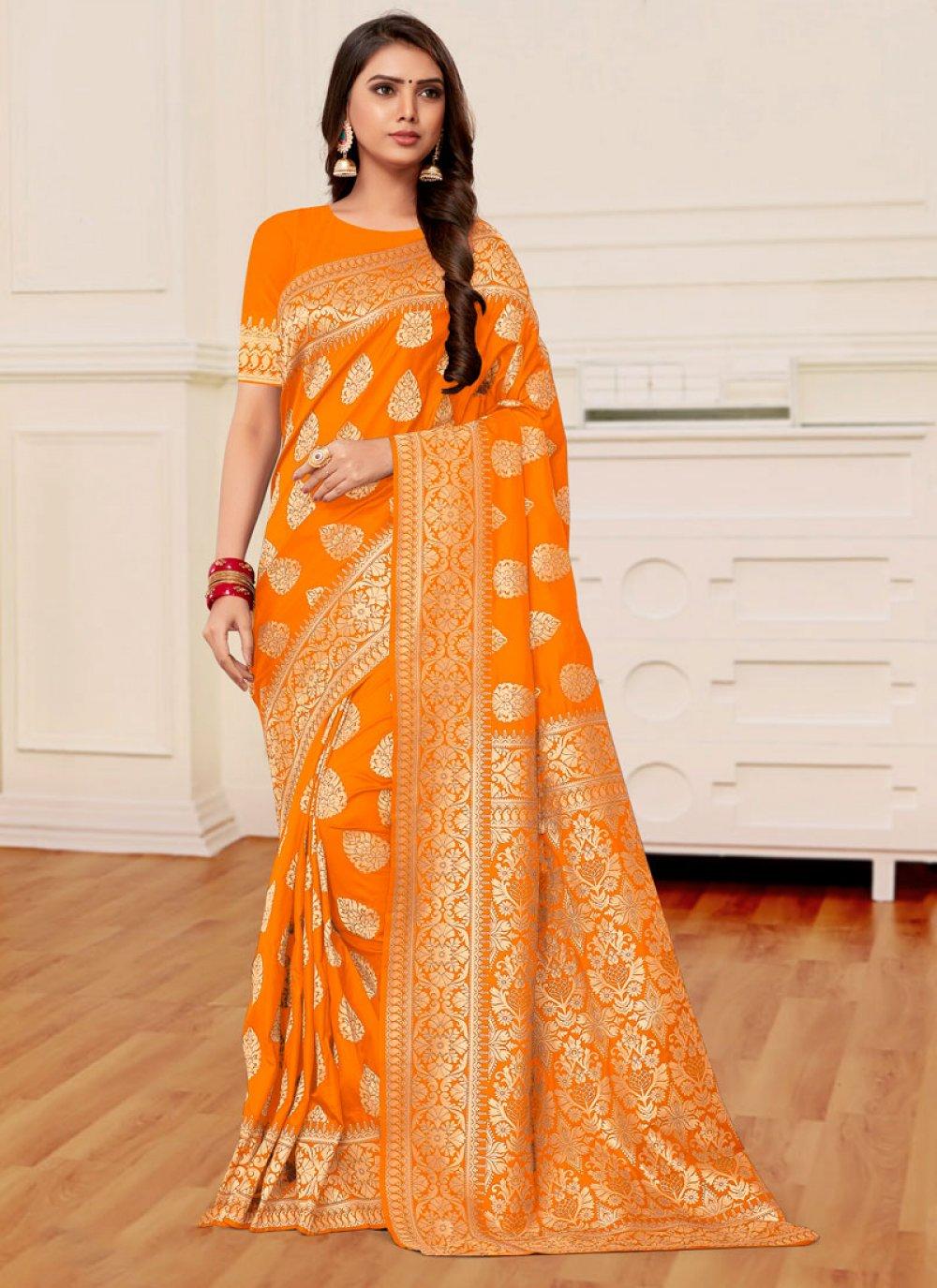 Banarasi Silk Mustard and Orange Half N Half Designer Saree