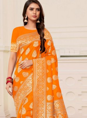 Banarasi Silk Mustard and Orange Half N Half Designer Saree