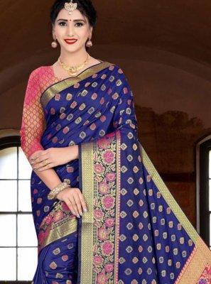 Banarasi Silk Navy Blue Silk Saree