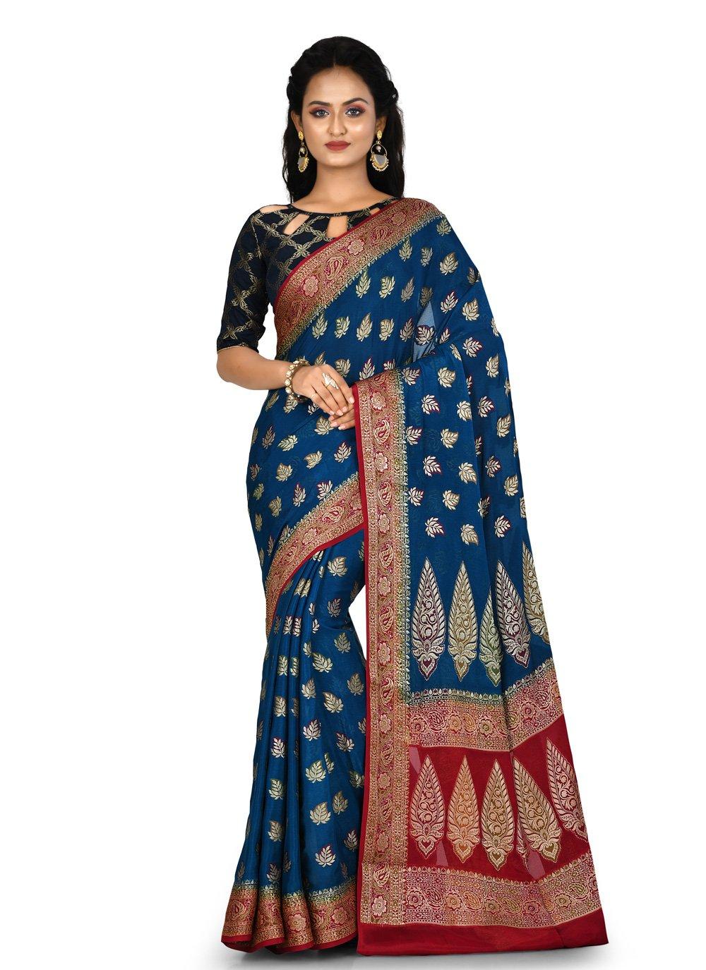Banarasi Silk Navy Blue Weaving Bollywood Saree