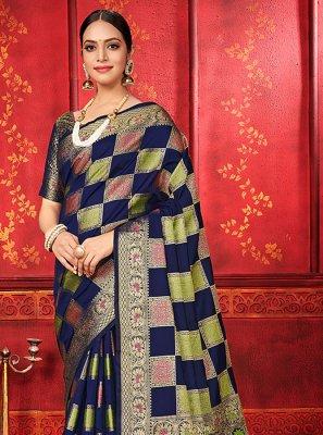 Banarasi Silk Navy Blue Weaving Classic Designer Saree