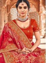 Banarasi Silk Orange and Red Weaving Traditional Designer Saree